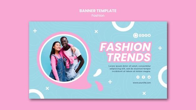 Mode winkel sjabloon voor spandoek met foto Gratis Psd