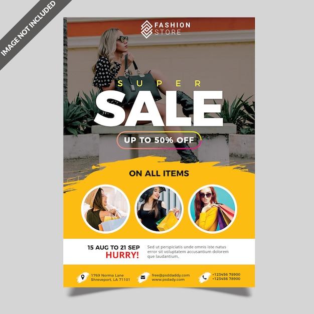 Mode zomer verkoop flyer template Premium Psd