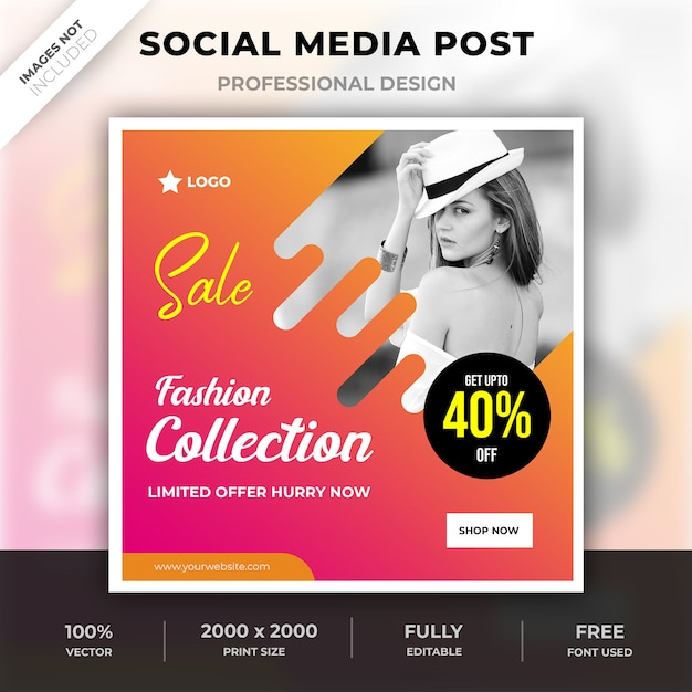 Modecollectie sociale media post Premium Psd