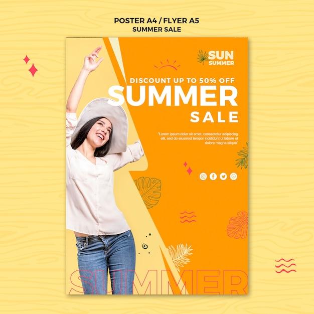 Model meisje zomer verkoop flyer sjabloon Gratis Psd