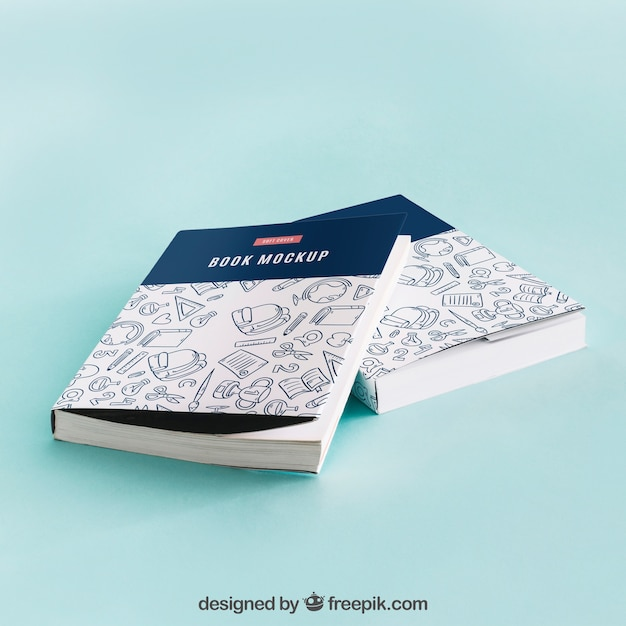 Model mockup van boekomslag van twee Gratis Psd
