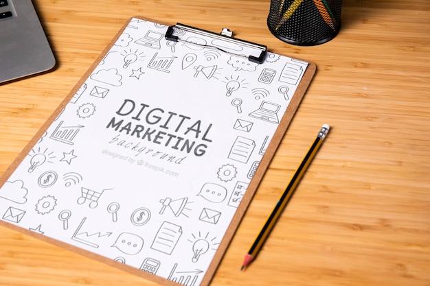 Model voor digitale marketing-notitieblok Gratis Psd