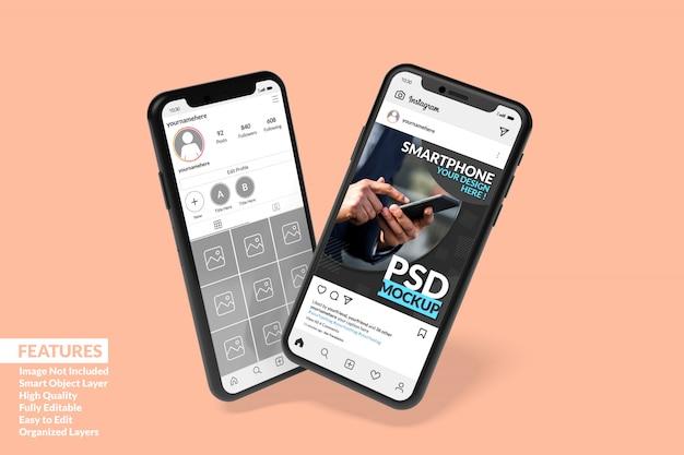 Modelli di due smartphone personalizzabili di alta qualità per visualizzare il modello di post instagram premium Psd Premium