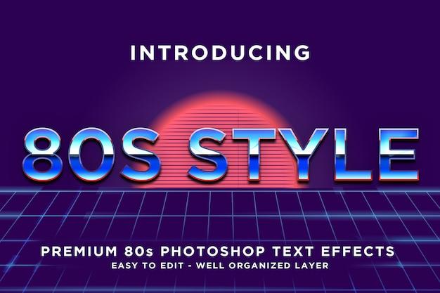 Modelli di effetti di testo stile blu anni '80 Psd Premium