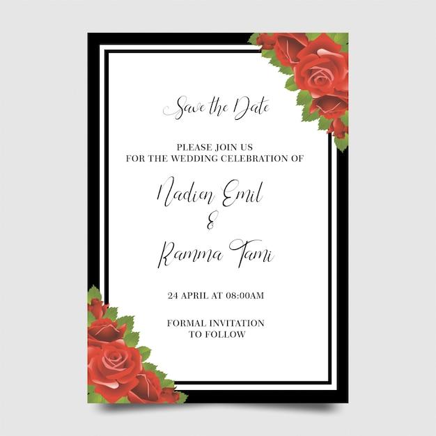 Modelli di invito di nozze con cornici floreali Psd Premium