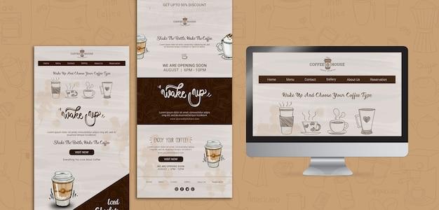 Modelli web caffetteria con elementi disegnati a mano Psd Gratuite