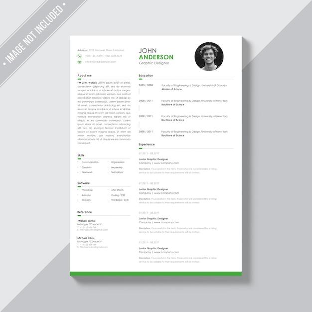 Modello bianco cv con dettagli verdi Psd Gratuite