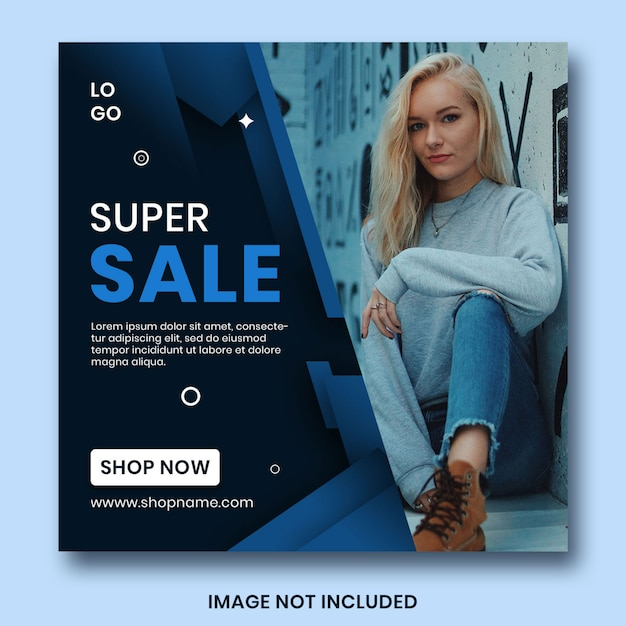 Modello blu classico dell'insegna di web di vendita Psd Premium