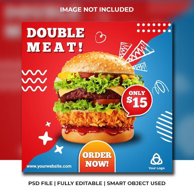 Modello blu e rosso del fast food social media fast food Psd Premium