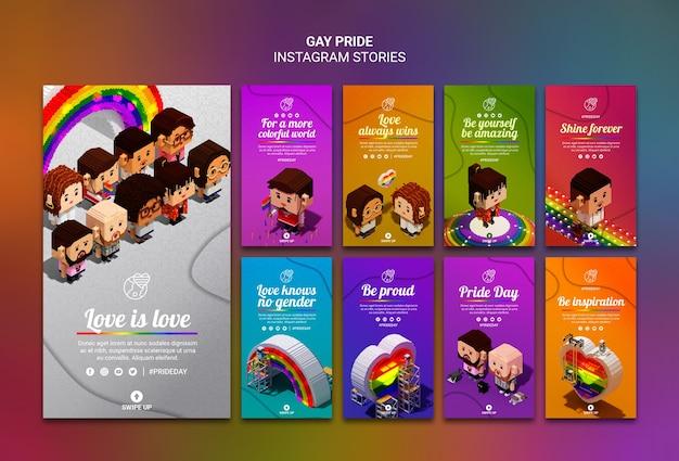 Modello colorato di storie di instagram gay pride Psd Gratuite