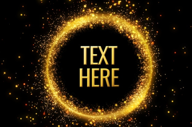 Modello. cornice rotonda dorata per il tuo testo. glitter dorati. Psd Premium