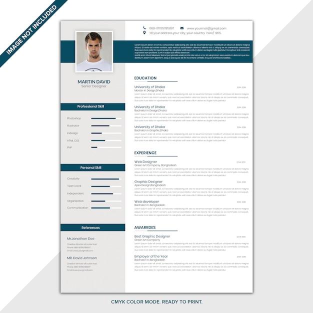 Modello cv / resume Psd Premium
