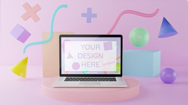 Modello del computer portatile sul podio con gli elementi astratti illustrazione 3d colore pastello Psd Premium