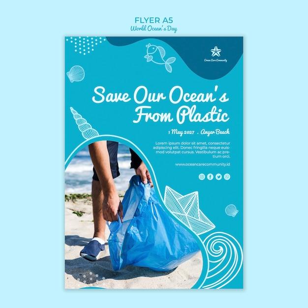 Modello del manifesto con il concetto di giornata mondiale dell'oceano Psd Gratuite