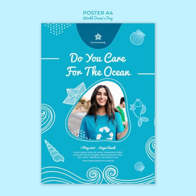 Modello del manifesto con il tema della giornata mondiale dell'oceano Psd Gratuite