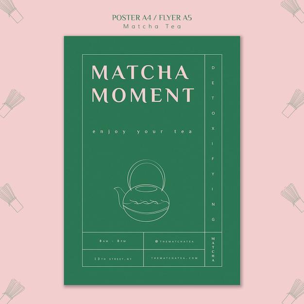 Modello del manifesto del momento del tè matcha Psd Gratuite