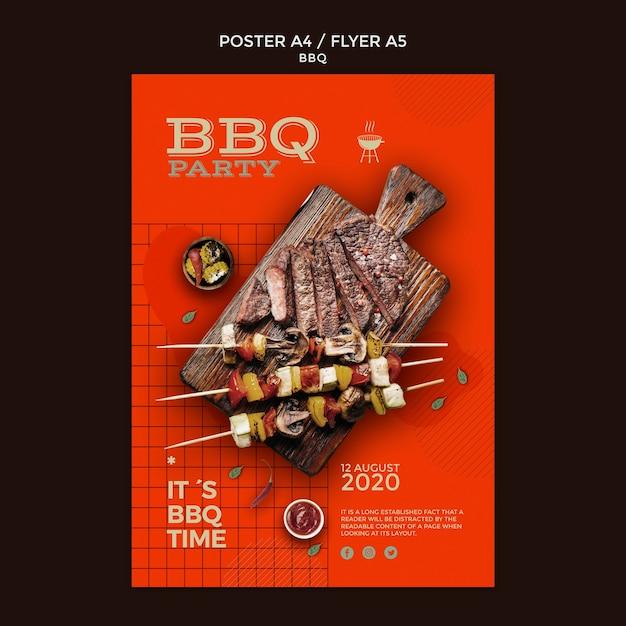 Modello del manifesto del partito barbecue Psd Gratuite