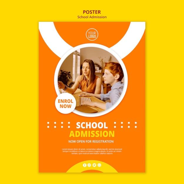Modello del manifesto di concetto di ammissione della scuola Psd Gratuite