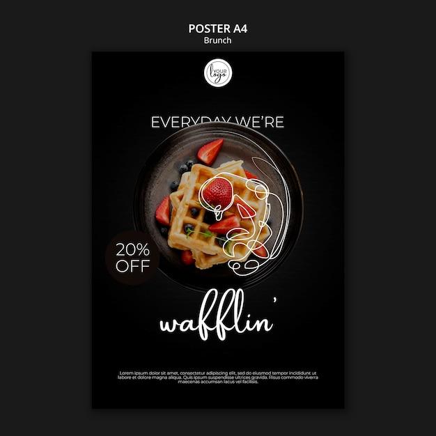 Modello del manifesto di disegno del ristorante del brunch Psd Gratuite