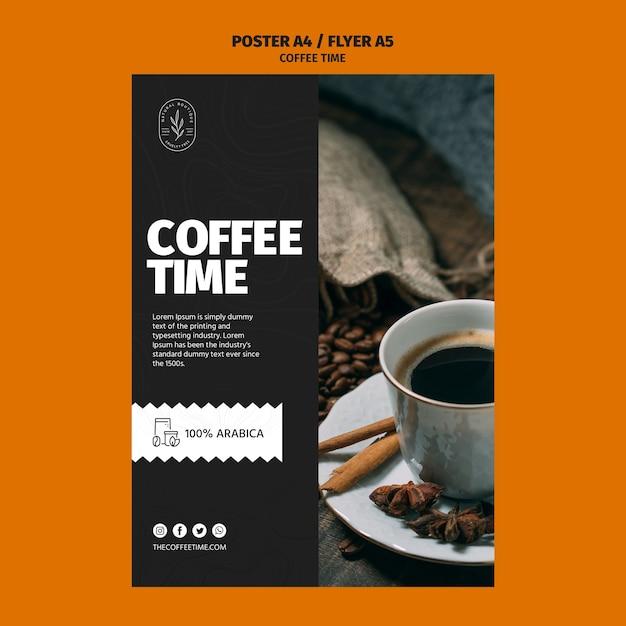 Modello del manifesto di tempo del caffè arabica Psd Gratuite