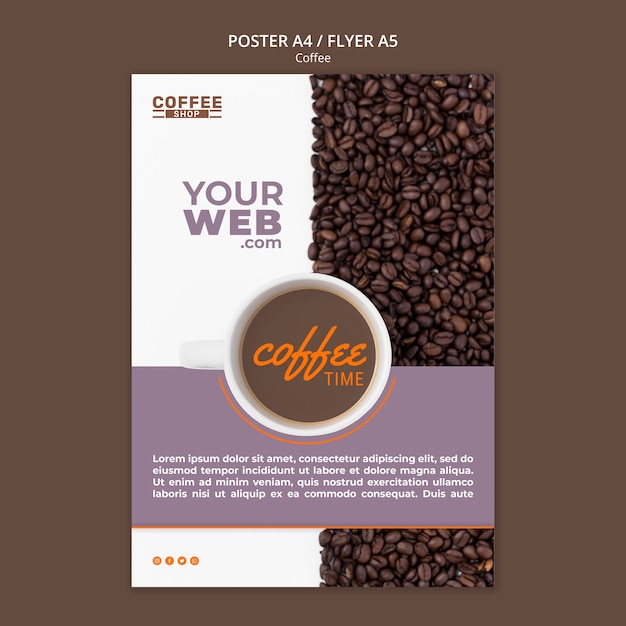 Modello del manifesto di tempo del caffè Psd Gratuite