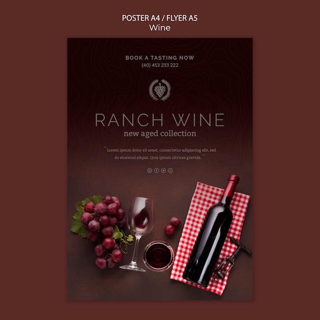 Modello del manifesto per la degustazione di vini con l'uva Psd Gratuite