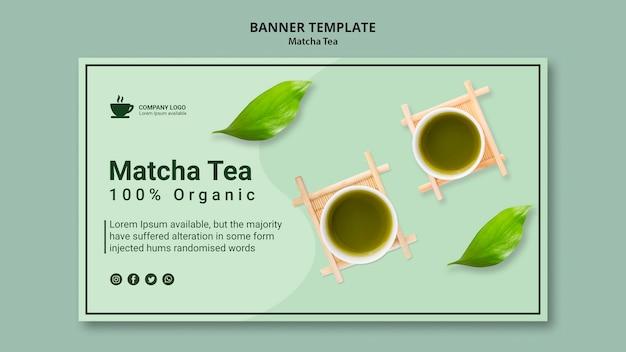 Modello dell'insegna con il concetto del tè di matcha Psd Gratuite
