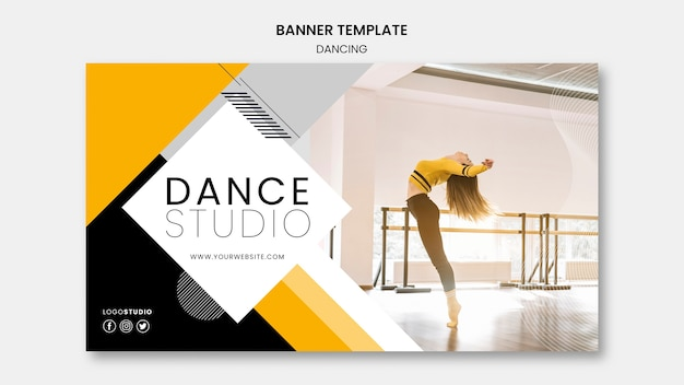 Modello dell'insegna con il tema dello studio di ballo Psd Gratuite