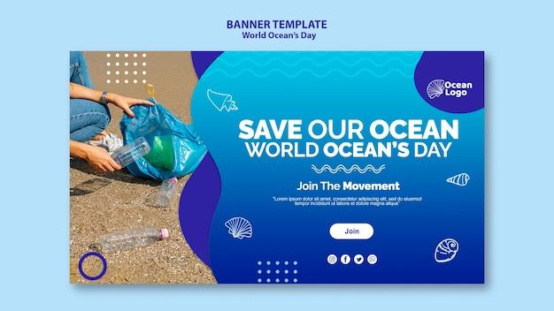 Modello dell'insegna di giornata mondiale degli oceani Psd Gratuite