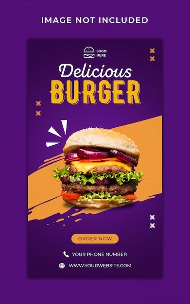Modello dell'insegna di storie del instagram di promozione del menu dell'hamburger Psd Premium
