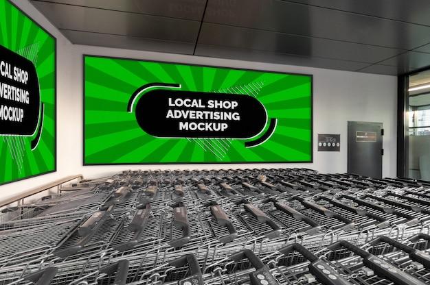 Modello dell'insegna orizzontale del tabellone per le affissioni di pubblicità all'aperto della città della via nel telaio nero alla parete del negozio locale Psd Premium