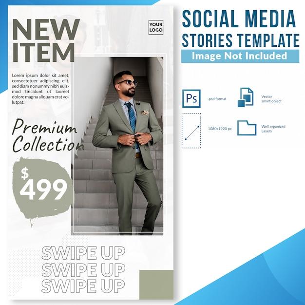 Modello della bandiera di web di storie di media sociali di sconto di vendita di modo di nuovo arrivo Psd Premium