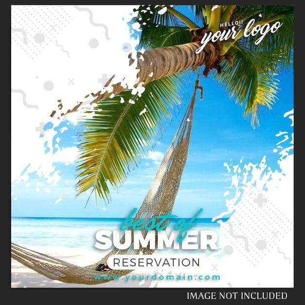 Modello della posta di viaggio di vacanza estiva di instagram Psd Premium