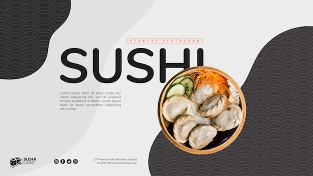 Modello di bandiera ristorante sushi asiatico Psd Gratuite