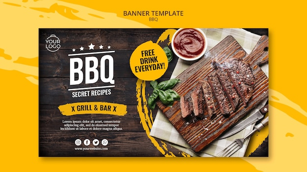 Modello di banner con barbecue Psd Gratuite