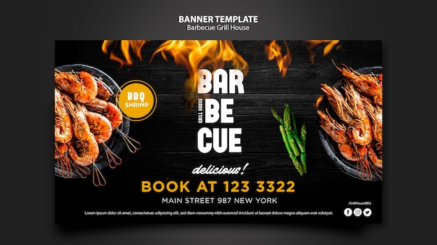 Modello di banner con tema barbecue Psd Gratuite