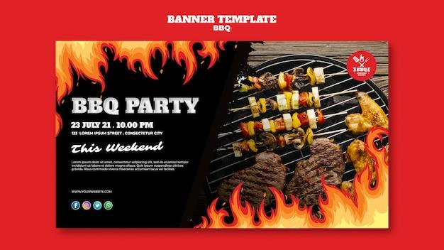 Modello di banner concetto barbecue Psd Gratuite