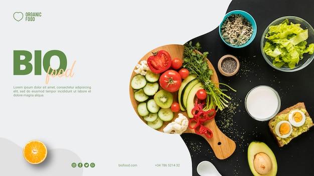 Modello di banner di cibo bio con foto Psd Gratuite