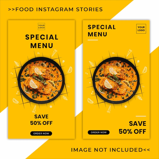 Modello di banner di cibo menu promozione instagram storie Psd Premium