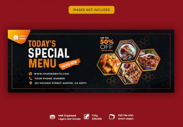 Modello di banner di copertina di facebook per cibo e ristorante Psd Premium