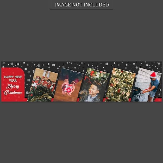 Modello di banner di natale e felice anno nuovo e foto Psd Premium