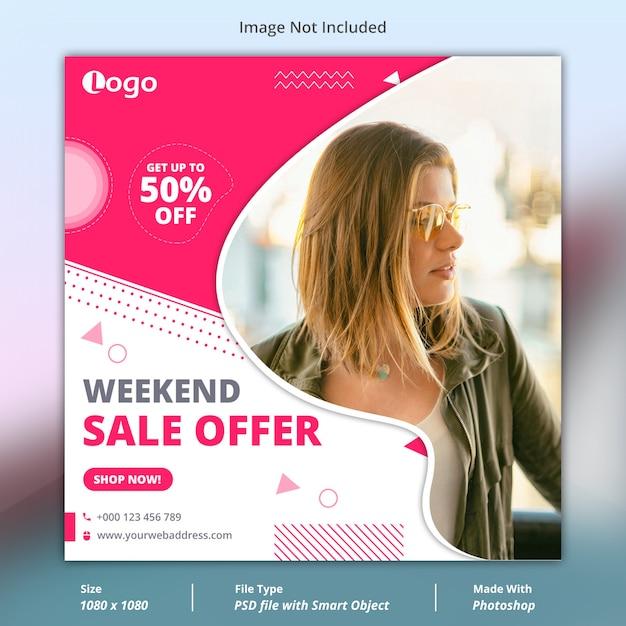 Modello di banner di social media di vendita di fine settimana Psd Premium