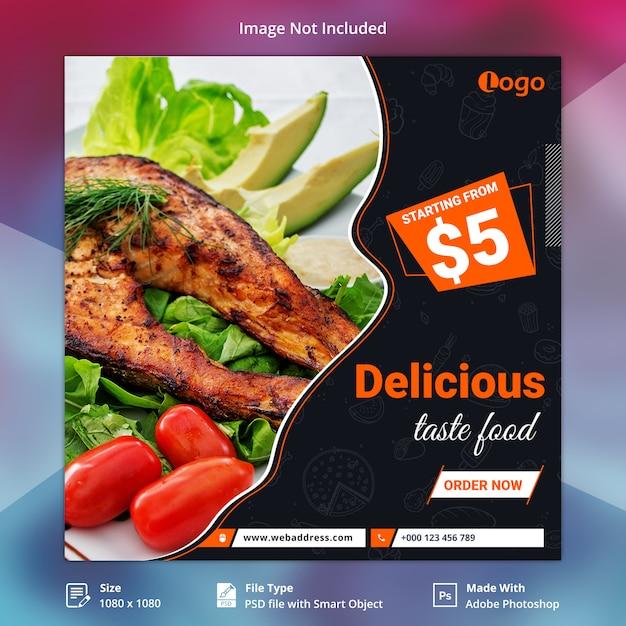 Modello di banner di social media taste food Psd Premium