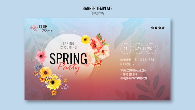 Modello di banner festa di primavera Psd Gratuite