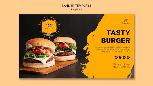 Modello di banner gustoso hamburger Psd Gratuite