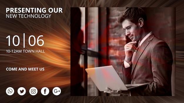 Modello di banner orizzontale con sfondo astratto tecnologia Psd Gratuite