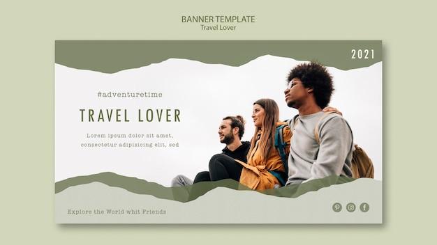 Modello di banner orizzontale per viaggiare all'aperto Psd Gratuite
