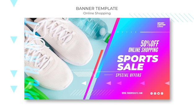 Modello di banner per la vendita di sport online Psd Gratuite