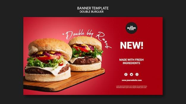 Modello di banner per ristorante di hamburger Psd Gratuite