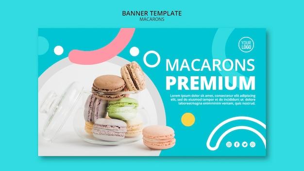 Modello di banner premium deliziosi macarons Psd Gratuite